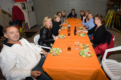 We have the orange table, enjoying the salads