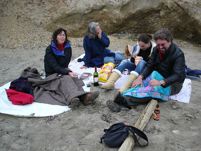 A day out a Drake's Beach with the Langs in November 2004