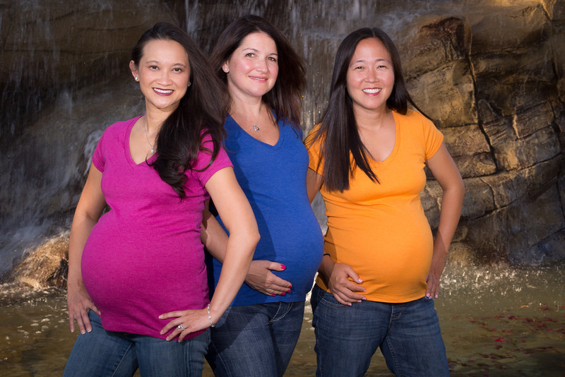 Catherine, Melissa, and Tamara get together for a three way maternity shoot.