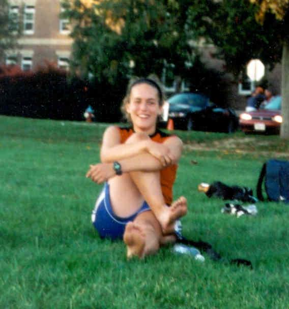 Alex stretching at Regionals Fall 03