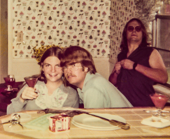 Heidi and Jack Voigt and Steve Cottle, at Jim Hainbach's house. 1976