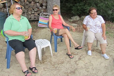 Cheryl, Sue and Edie having fun
