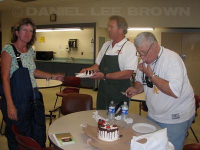 Ralph Gwaltney's mini retirement bash! Linda, Bob and Ernie.