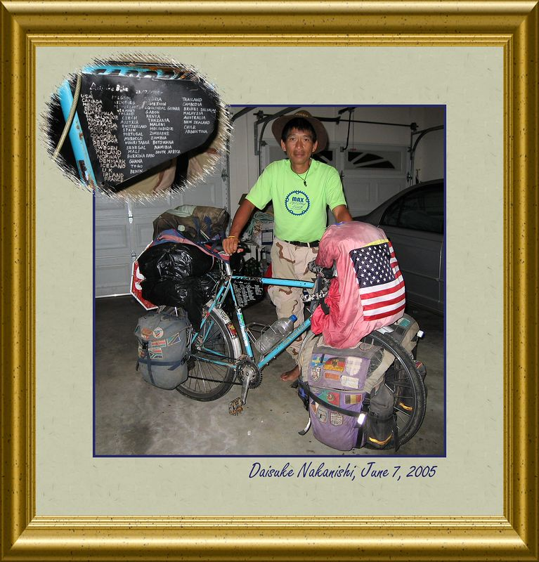 Daisuke with his well-traveled bike [borders, text, inset picture, gold01 frame]