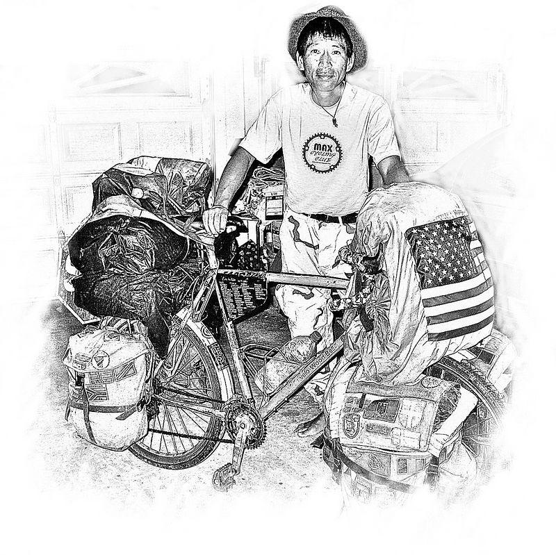 00aFavorite Daisuke with his well-traveled bike [Sheri's sketch script]