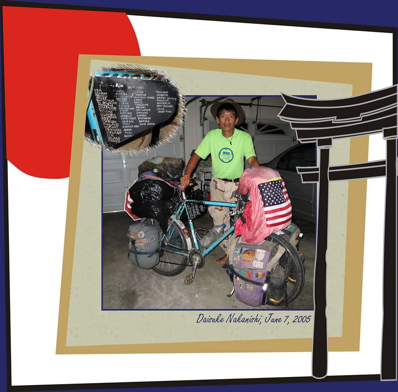 Daisuke with his well-traveled bike [borders, text, inset picture, cartoonJapan frame]