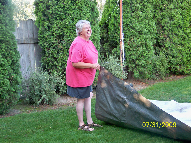 Jeanette having too much fun with another unused tarp!