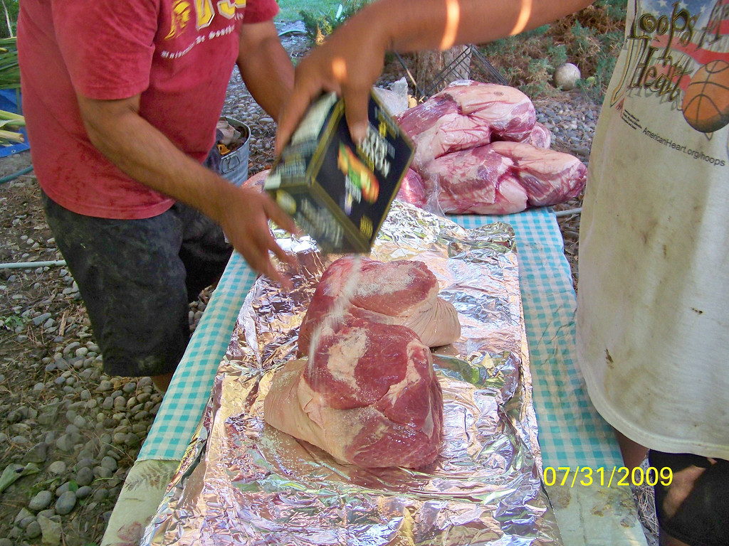 Rock salting the pork