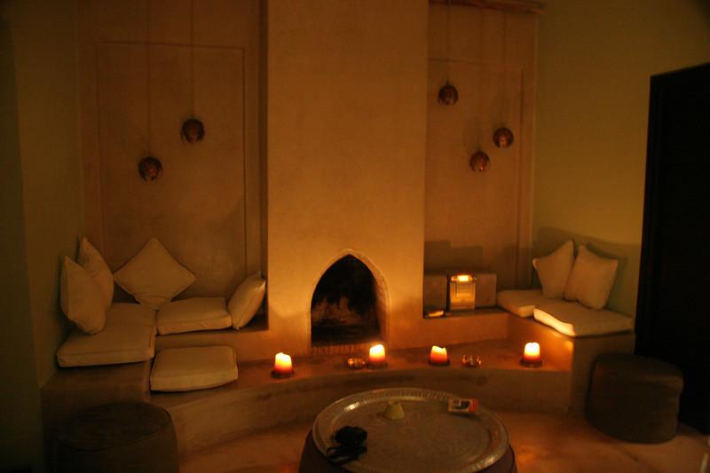 villa living room evening