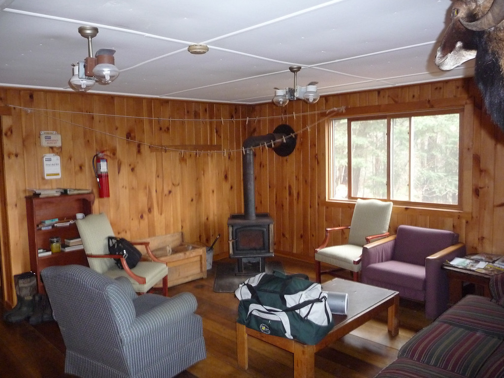 Inside Johnson Brook Cabin.