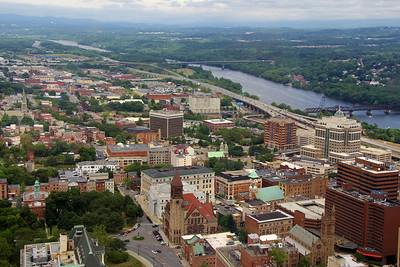 City of Albany, NY  from 42nd Floor of the Corning Tower.  Hudson River in background