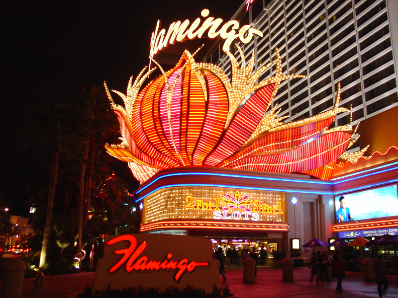 neon lights of the 'Flamingo' on the strip, Las Vegas