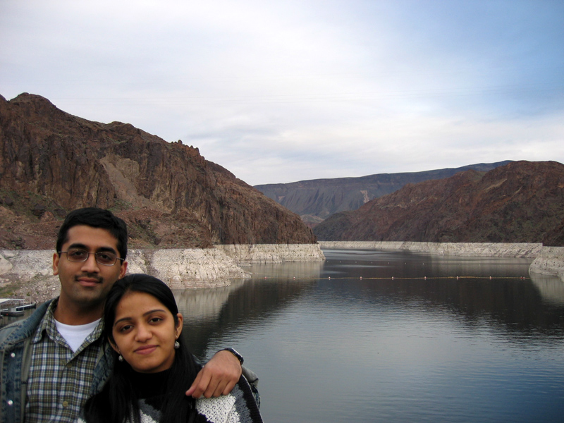 sachin & shweta in front of the reservoir