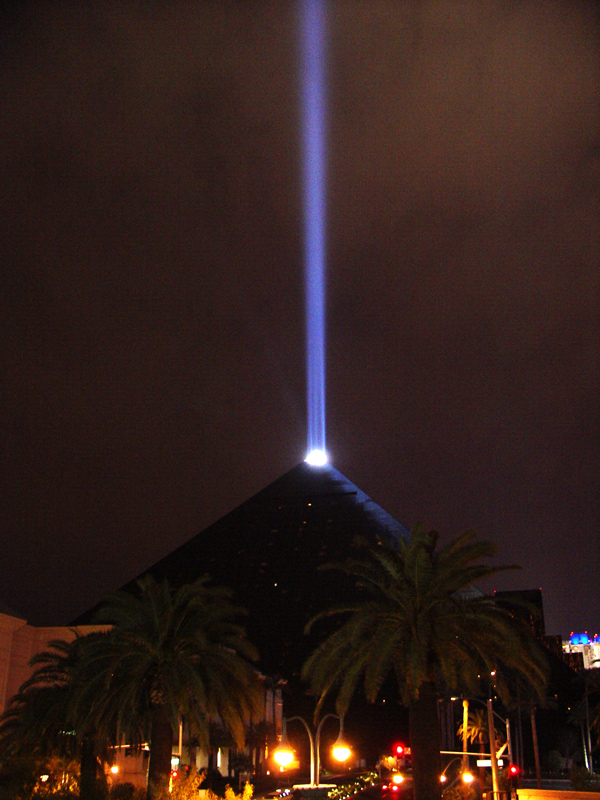 the pyramid of 'Luxor' focusing its light on the overcast sky