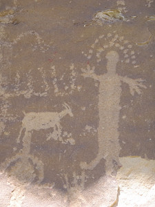 "Juggling Man, Unicycling Goat. Centuries old petroglyphs from Fremont period. Unfortunately, this rock panel also contained a few ""bubbaglyphs"" from the current century."
