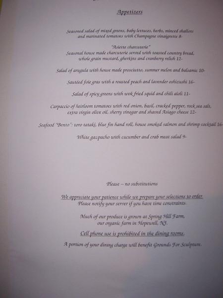 More of the menu.  Tres gentil!