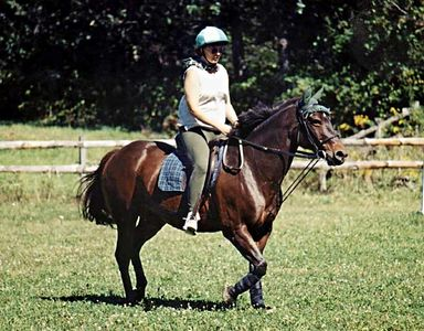 Donna riding her Quarter Horse mare, Dark Star.