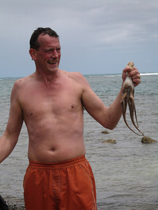 Pat and his first tako (octopus) capture