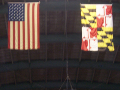 US Flag and U of MD flag.