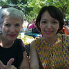 Sarah and Eiko on the Terrace at the University of Wisconsin Memorial Union.