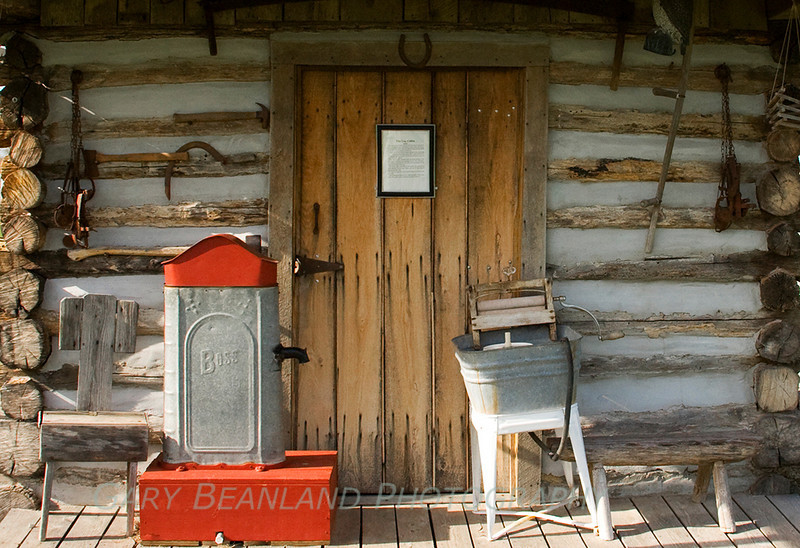 Front of the log cabin.