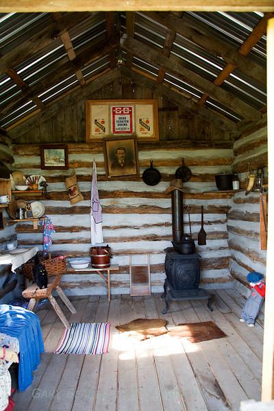 Inside the log cabin.