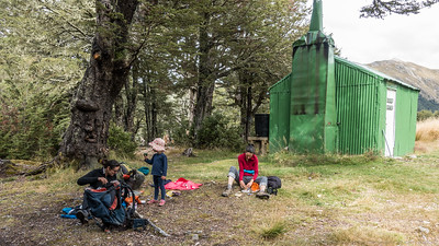 Lunch at Bealey Spur Hut.
