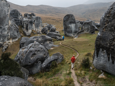 A wet visit to the limestone rocks of Castle Hill on the way to Arthur's Pass.