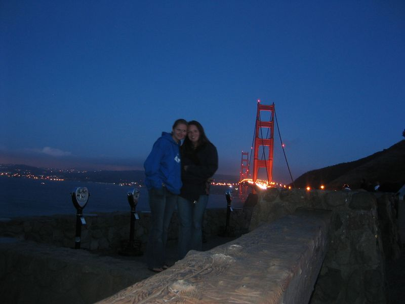 2004 07 12 Monday - Melody Cline & Carrie @ Golden Gate Bridge vista 1