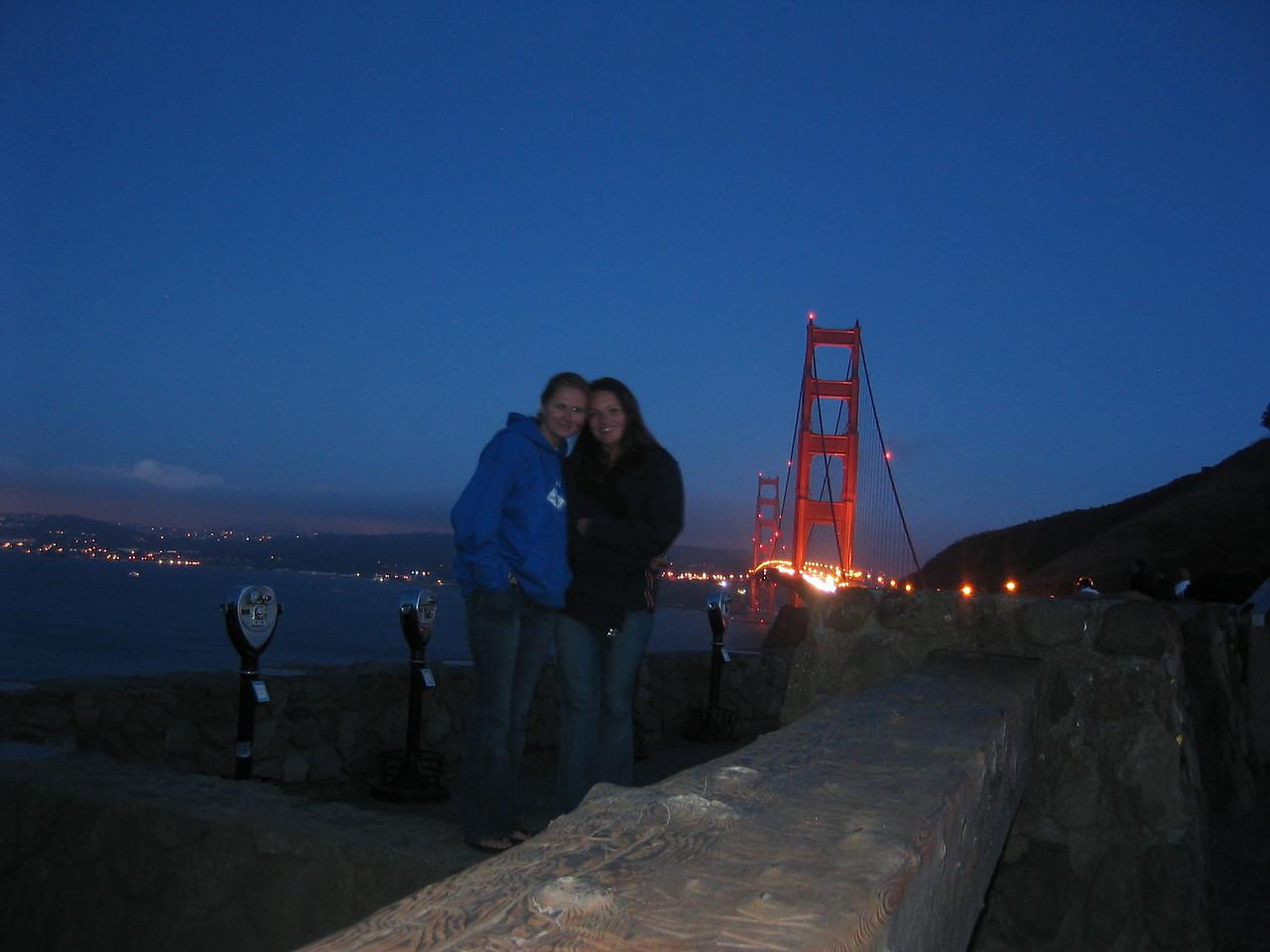2004 07 12 Monday - Melody Cline & Carrie @ Golden Gate Bridge vista 1