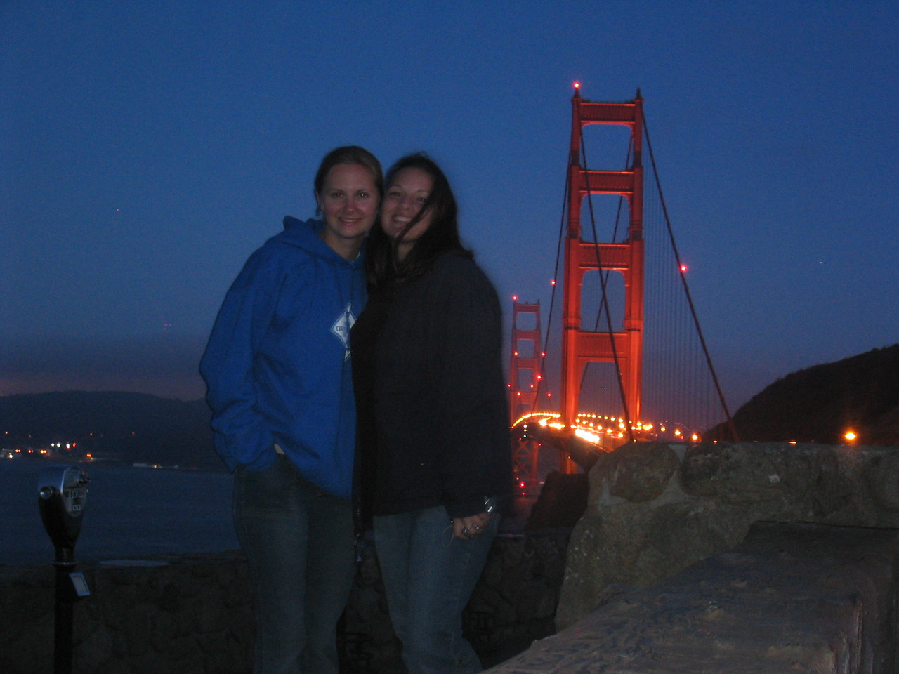2004 07 12 Monday - Melody Cline & Carrie @ Golden Gate Bridge vista 2