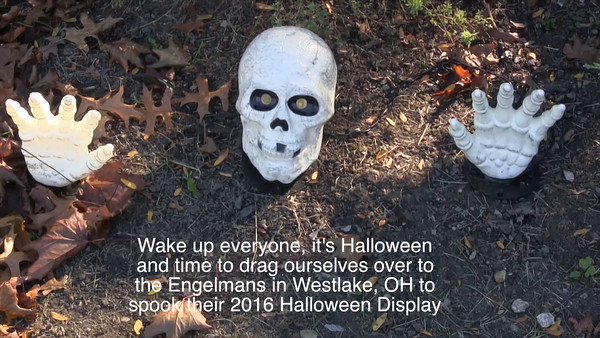 VIDEO:  Click on image above and then on triangle and video will play.  Engelman's 2016 Halloween Display.  Video:  6 1/2 mins.