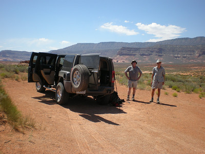 Peter and Mark and the Rentahummer, fifty miles out Hole In The Rock Road.