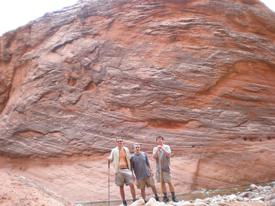 Group shot at confluence.  Peter, Tom, Mark preparing for final push to Lake Powell.