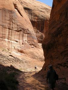 Narrow canyon between Broken Bow Arch and Lake Powell.