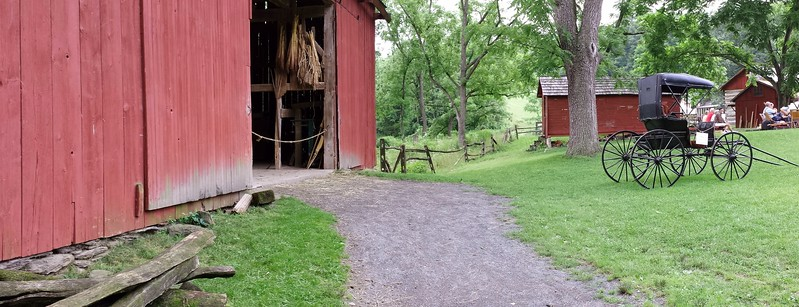 Panorama of Barn and Corncrib at Quiet Valley Farm