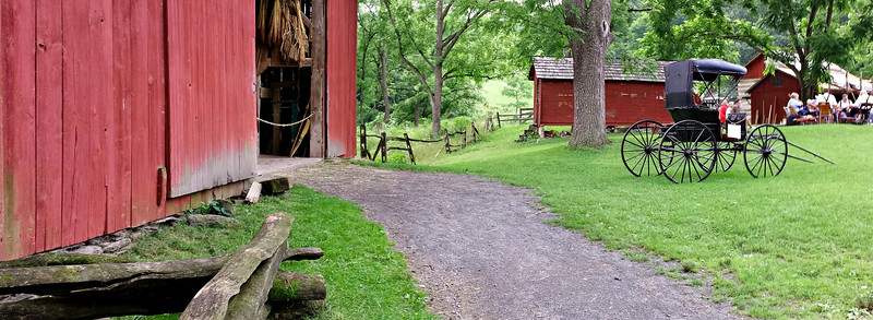 Panorama of Barn and Corncrib at Quiet Valley Farm  - Stroudsburg, PA