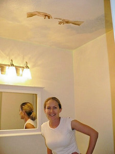 Ari and the bathroom ceiling