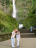 Tali & Megan in front of Multnomah Falls.
