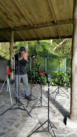 Greg Basco setting up a multi-flash station at the Bosque de Paz Lodge.