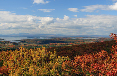 Westerly view from 'Fantasy Hill' in Essex just above Colchester Pond. Lake Champlain and Adirondacks in New York State in the distance.