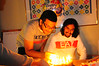 Then, when he blew out the match, he blew out the candles and had to do it all over again!