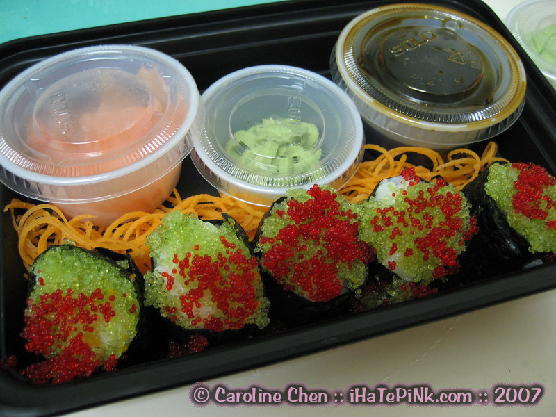 I was craving flying fish roe, with a ton of wasabi to kill off as many germs as possible, so Donnie brought some over for me.