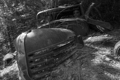Old car dumping graveyard down from Box Canyon Dam at Lake Siskiyou.