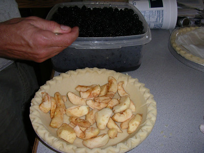 We made pie out of the apples and blackberries we picked.