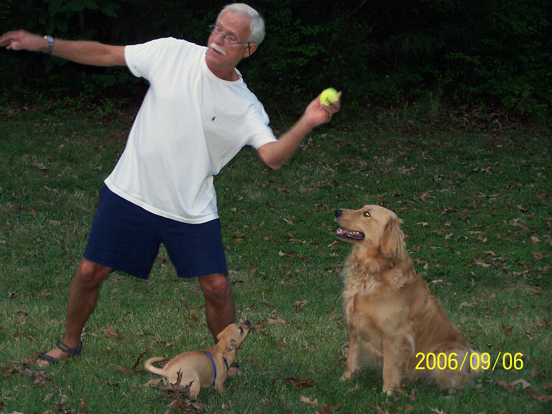 Mike, Jasper and Libby, ready for another throw.