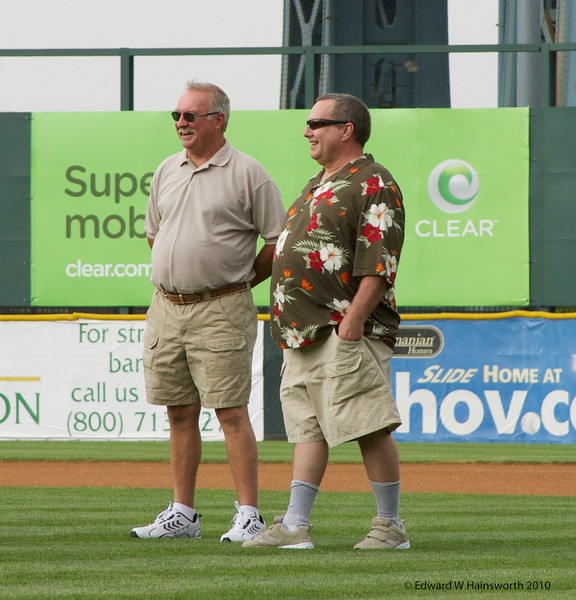 Rick and Frank waiting to throw the first pitch
