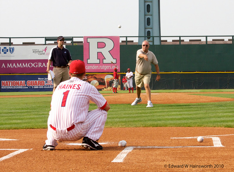 Rick tosses the first pitch of his retirement
