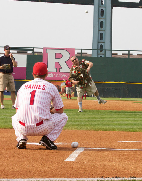 Frank with the first pitch of his retirement