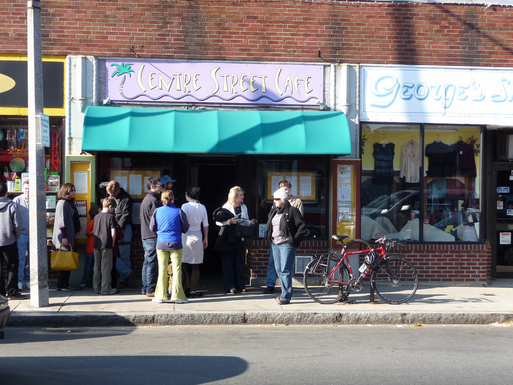 Waiting in line for breakfast in Jamaica Plain...it was worth it!